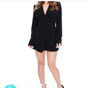 Black tuxedo blazer jumpsuit / romper Size Medium